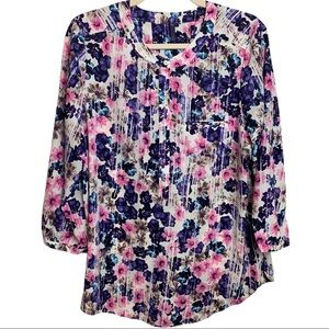 NYDJ Floral Pull Over Blouse Size Medium